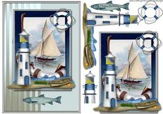 Classic male card Nautic on Craftsuprint designed by Marijke Kok - Classic male card with a vintage image, lighthouse and other elements... - Now available for download!