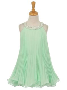 Mint Chiffon Pleated Flower Girl Dress (Available in Sizes 2-12 in 5 Colors)
