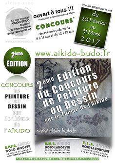 Le site Internet AIKIDO-BUDO lance la 2ème ÉDITION du CONCOURS de PEINTURE ou de DESSIN sur le thème de l'Aïkido :  - à ses visiteurs (pratiquant(e)s et non-pratiquant(e)s d'Aïkido) - aux adhérent(e)s des trois clubs : B.M.S. / E.P.P.G. / E.L.A.  en collaboration avec notre partenaire - sponsor Budo-Fight.  *** 6 PRIX SERONT REMPORTÉS PAR LES LAURÉAT(E)S DU CONCOURS ***  (Modalités de participation au concours, voir les détails sur le site). #aikido #concours #peinture #dessin