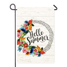 """Hello Summer Bright Wreath Garden Flag Outdoor Patio Seasonal Holiday Fabric 12.5""""X18"""" by Second East, http://www.amazon.com/dp/B0716G3QCF/ref=cm_sw_r_pi_dp_x_lc9Fzb4G7K6ZS"""