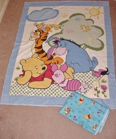 Winnie The Pooh Fabric Quilt Panel Plus 2 Yards Fabric Pooh Piglet Tigger Eeyore $25 OBO