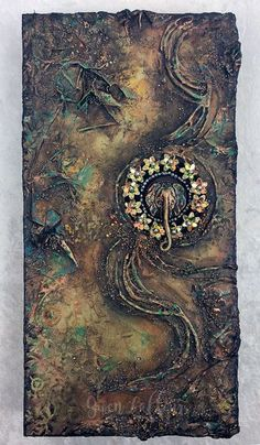 """Sands of Time"" mixed media artwork by Gwen Lafleur. Stenciling, embossing powder, and textured collage on a x x cradled birch panel. Mixed Media Artwork, Mixed Media Artists, Mixed Media Collage, Mixed Media Canvas, Canvas Collage, Plaster Art, Embossing Powder, Art Tutorials, Ceramic Art"