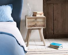 Loaf - Our Monocle side table is a gorgeous retro-modern style. This lovely table has the Loafed up beached timber finish. Just yummy. Timber Beds, Timber Table, Wooden Bedside Table, Bedside Tables, Grown Up Bedroom, Master Bedroom, England Furniture, Painted Side Tables, Vintage Ladder
