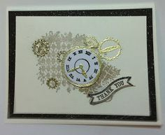 """All That Scrap: ClockworksVery Vanilla with a front of Early Espresso that was sprayed with Champagne Shimmer Paint spray. 5"""" x 3 3/4"""" Very Vanilla stamp ClockworksVery in Sahara Sand +Crumb Cake., Gold Emboss the gears. scrap of Glossy White Paper emboss the  watch face Early Espresso EP ,then the hands embossed the with Gold. I punched it out with a Circle Punch."""