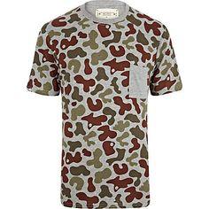 Grey Bellfield camo print t-shirt $40.00