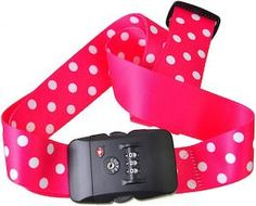 Polka Dots Luggage Strap With Lock (available in many colors)