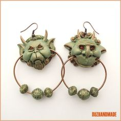 Knocker Earrings Labyrinth Party Polymer Clay Buzhandmade | eBay
