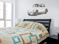 License to Drive (Teen Boy Bedrooms on HGTV) - There's nothing more exciting for a teen than finally getting that driver's license. Celebrate their new-found freedom with a wall decal of their favorite vintage car. Boys Bedroom Themes, Bedroom Colors, Boy Bedrooms, Bedroom Ideas, Bedroom Inspiration, Sophisticated Teen Bedroom, Trendy Bedroom, Black Bedroom Furniture, Bedroom Black