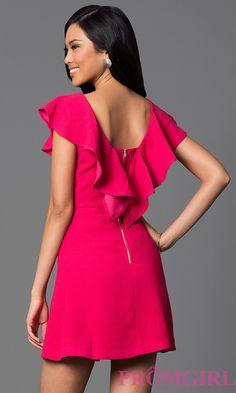 Image of short dress with ruffle sleeves Back Image