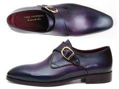 Shop. Save. Breathe. - PAUL PARKMAN Single Monkstrap Men's Shoes Purple Leather