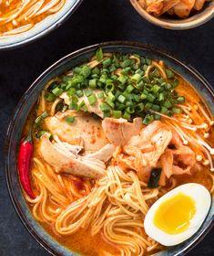korean ramen - this is not instant noodles - glebe kitchen - – Korean Chicken Ramen Bowl – korean spices, but still a ramen noodle soup - Spicy Ramen Noodles, Ramen Noodle Bowl, Korean Noodles, Ramen Noodle Recipes, Traditional Ramen, Tonkatsu Ramen, Ramen Broth, Korean Dishes, Korean Food