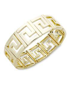 Charter Club Bracelet, Gold Tone Greek Key Bangle - Fashion Jewelry - Jewelry & Watches - Macy's