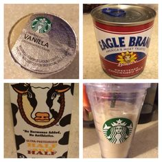Best vanilla iced coffee recipe for Keurig K-cup 1) Starbucks vanilla coffee Kcup pod 2) cup of ice (16oz or bigger)  3) brew a 4oz size coffee in Keurig 4) add couple table spoons of sweetened condensed milk (I open a can and store remaining in Tupperware in fridge) 5) fill cup up with half and half or milk until desired coffee color 6 stir and enjoy! I love Starbucks vanilla iced coffee and I'm picky and this is the best home coffee and very comparable to it!