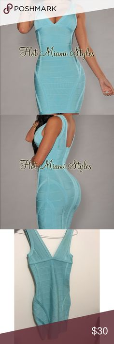 NWT Hot Miami Styles Bandage Dress New with tags, never worn. My pics make it look dirty but I promise it is just shadows! It's been sitting in my closet. Fits a 0-6 (has some stretch). GORGEOUS color! hot miami styles Dresses Mini