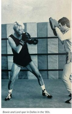 David Bowie sparring at a boxing gym in Dallas, Tx where he trained during the Serious Moonlight tour