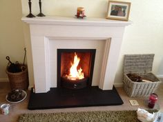 Coal Fire in Limestone Fireplace with Slate Hearth Ainsdale, Southport, Merseyside Slate Hearth, Limestone Fireplace, Real Fire, Sweet Home, Crown Heights, Home Appliances, Southport, Fireplace Ideas, Dining