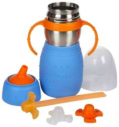 Amazon.com : Kid Basix Safe Sippy Cup 2, The Stainless Steel 2-in-1 Sippy Cup and Straw Bottle, Blue, 11oz : Baby Drinkware : Baby