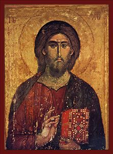 A lacquered icon of Christ the Pantocrator on wood. Jesus holds the Gospel in a precious cover in his left hand and blesses the faithful with his right hand Byzantine Icons, Byzantine Art, Religious Icons, Religious Art, Christus Pantokrator, Orthodox Christianity, Orthodox Icons, Medieval Art, Sacred Art