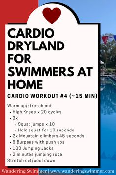 Swimming is a great cardio workout. When you can't make it to the pool, try different workouts to get your heart rate going. Keep up your dryland workouts even away from the pool! Swimming Drills, Competitive Swimming, Swimming Workouts, Swimming Tips, Dry Land Swim Workouts, Workouts For Swimmers, Spin Bike Workouts, Cardio Workout At Home, Cardio Workouts