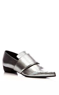 Metallic Embossed Leather Pointed-Toe Flats by Rodarte - Moda Operandi