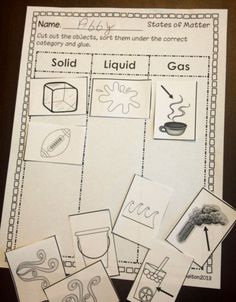 States of Matter (Solid, Liquid and Gas) sorting picture printable activity.