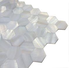 Handmade White Groutless Hexagon Mother of Pearl Mosaic Tile | Etsy Tile Shower Niche, Shower Backsplash, White Bathroom Tiles, Kitchen Tiles, Mosaic Tiles, Wall Tiles, Tiling, Pool Shower, Tuile