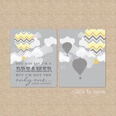 You may say I'm a Dreamer... Giclee Art Prints for Nursery / Child's Room, 8x10 - Custom Match colors to your room. $35.00, via Etsy.