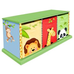 Teamson Design Sunny Safari 3 Drawer Storage Bench | www.hayneedle.com