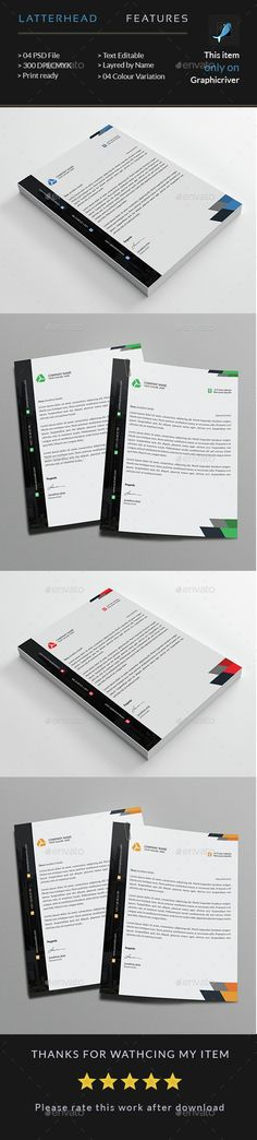 Corporate Business #Letterhead - Stationery Print #Templates Download here: https://graphicriver.net/item/corporate-business-letterhead/14710233?ref=alena994