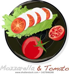 Vector illustration of mozzarella, cherry tomatoes - ingredients for caprese salad on plate. Tomato Mozzarella, Free Vector Illustration, Caprese Salad, Cherry Tomatoes, Facebook Sign Up, Logo Inspiration, Plate, Dishes, Dish
