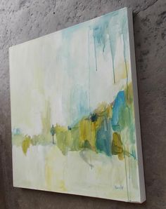 original abstract painting large blue green and gold. $220.00, via Etsy.
