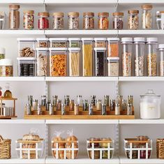 Organize your pantry with pantry organizers from The Container Store! Our pantry organizers come in many designs and sizes to fit any kitchen pantry space. Kitchen Organization Pantry, Home Organisation, Pantry Storage, Organization Hacks, Kitchen Storage, Clothing Organization, Organized Pantry, Container Organization, Pantry Ideas