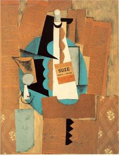 """Pablo Picasso, Verre et bouteille de Suze (glass and bottle of Suze), 1912. Collage with charcoal and gouache, 64 x 50 cm. (Along with the label and strips of wallpaper from his studio, are newspaper reports of the Balkan war, and an account of an anarchist/socialist anti-war demonstration. Picasso said later it was """"my way of showing I was against the war."""")"""