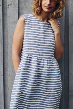 Striped Linen Dress  Sleeveless Linen Dress  Loose Fit Dress