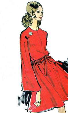 1970s Dress Pattern Vogue 7614 Day or Evening Dress by paneenjerez, $30.00