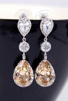 Swarovski Light Silk Teardrop Crystal Earrings, Bridesmaid, Bridal Wedding Jewelry, Swarovski Crystal Drops, silver wedding, www.glitzandlove.com, by GlitzAndLove