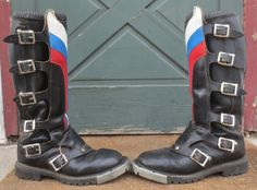 """Vintage Mad Max Black Leather """"Rister"""" Motorcycle Motocross Racing Boots Size 8 