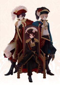 Antonio, Kiku, and Arthur - Art by Momo
