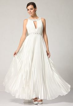 Plus Size Off White Formal Dress Scoop Neck Rhinestone Pleated Dress $99.99