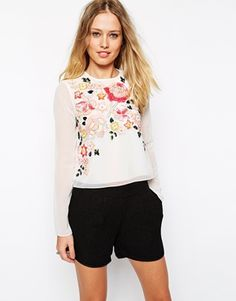 Needle & Thread Embellished Trailing Floral Top