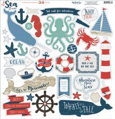 Tekturowe Elementy By The Sea | Akcesoria i dekoracje \ Wycinane dodatki Producenci \ My Mind's Eye