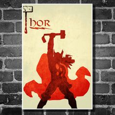 The Avengers movie poster minimalist art movie print Thor comic book art poster print 11x17 Thor
