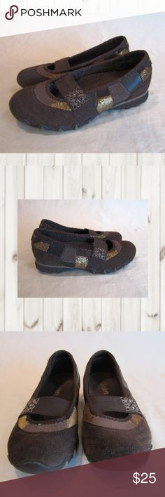 SKECHERS Brown Leather Patchwork Mary Jane Shoes NWOT, SKECHERS, Multi-colored Browns, Leather & Fabric Mary-Jane flats, Size 5M, Slip On. NWOB  Smoke and pet free home  (S1-EB,PM) Skechers Shoes Flats & Loafers