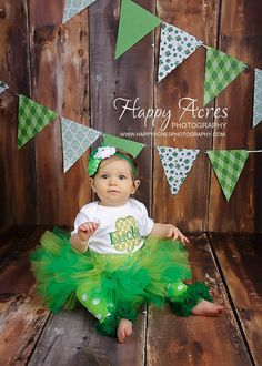 Pinch Proof Green Tutu with Shabby Chic Headband