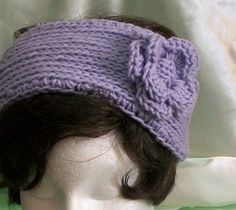 Lavender Knitted Headband With Crocheted Flower by AuldNouveau, $10.99