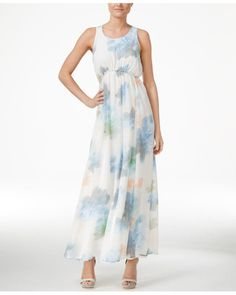 Calvin Klein | Floral-print Empire Maxi Dress | Lyst