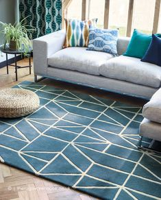 NEW: Viso Blue Rug, a modern pure new wool rug with a geometric design in shades of blue and cream. Cosy Living, Living Room Throws, Living Rooms, Bedroom Carpet, Living Room Carpet, Denim Furniture, Living Room Orange, Carpet Decor, Carpet Ideas