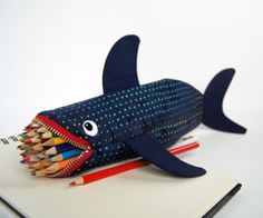 Shark Bag  Love Bites Pencil Case Geeky Gift for by minnebites, $44.00