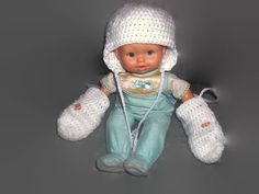 White Crochet Hat with Mittens on String Newborn to Six by missy69