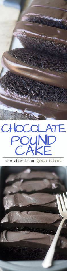Everyone should have a rich Chocolate Pound Cake in their recipe file, preferably right up front --- this dark chocolate loaf cake is topped with a creamy chocolate ganache. Brownie Desserts, Mini Desserts, Chocolate Desserts, Chocolate Ganache, Just Desserts, Delicious Desserts, Ganache Cake, Decadent Chocolate, Chocolate Smoothies